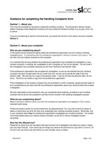 Guidance for completing the Handling Complaint form